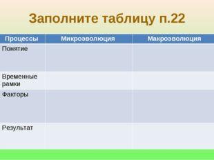 Заполните таблицу п.22 Процессы Микроэволюция Макроэволюция Понятие Време