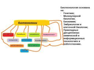 Биотехнология основана на: Генетике; Молекулярной биологии; Биохимии; Эмбриол
