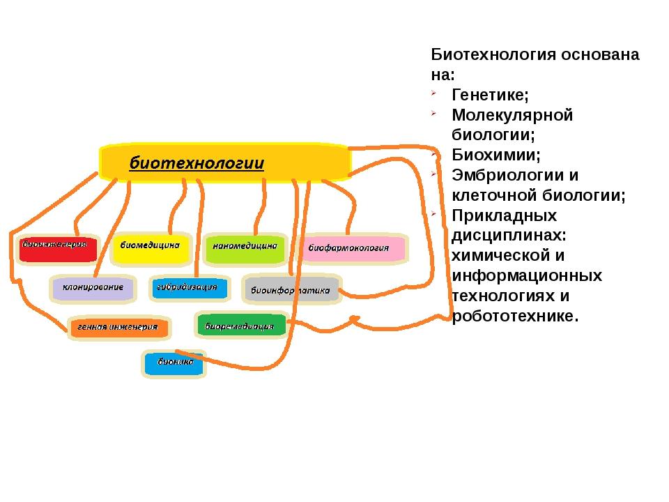 Биотехнология основана на: Генетике; Молекулярной биологии; Биохимии; Эмбриол...