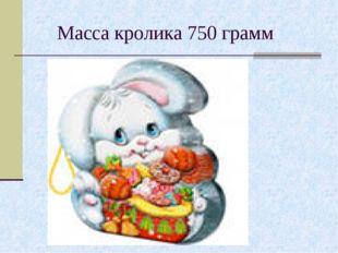 Масса кролика 750 грамм