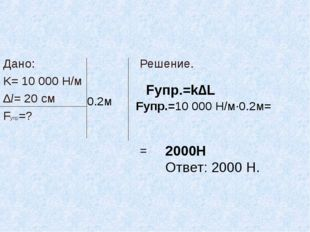 Дано: K= 10 000 Н/м ∆l= 20 см Fупр=? Решение. = 0.2м Fупр.=k∆L Fупр.=10 000 Н