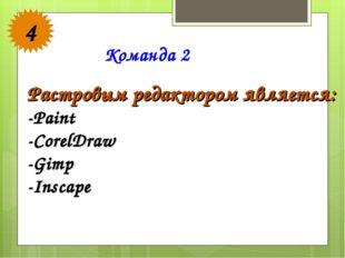 Команда 2 4 Растровым редактором является: -Paint -CorelDraw -Gimp -Inscape