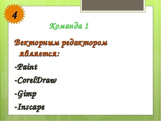 Векторным редактором является: -Paint -CorelDraw -Gimp -Inscape Команда 1 4