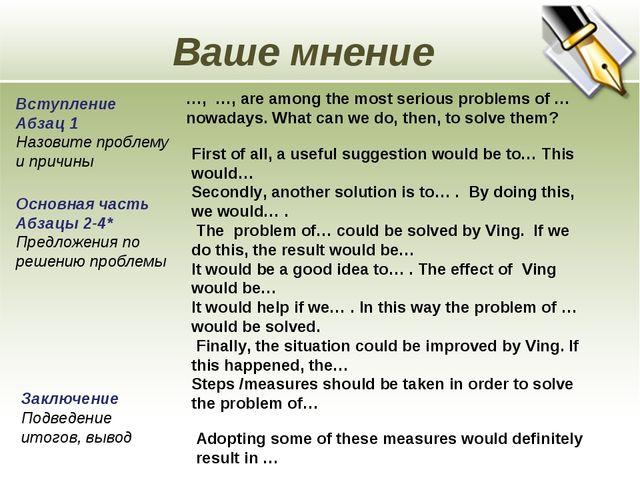 Ваше мнение Вступление Абзац 1 Назовите проблему и причины …, …, are among th...