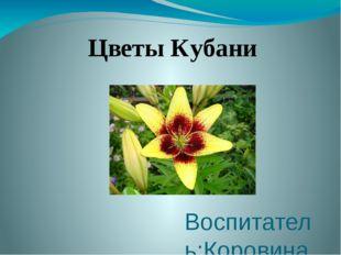 Воспитатель:Коровина Людмила Петровна Цветы Кубани