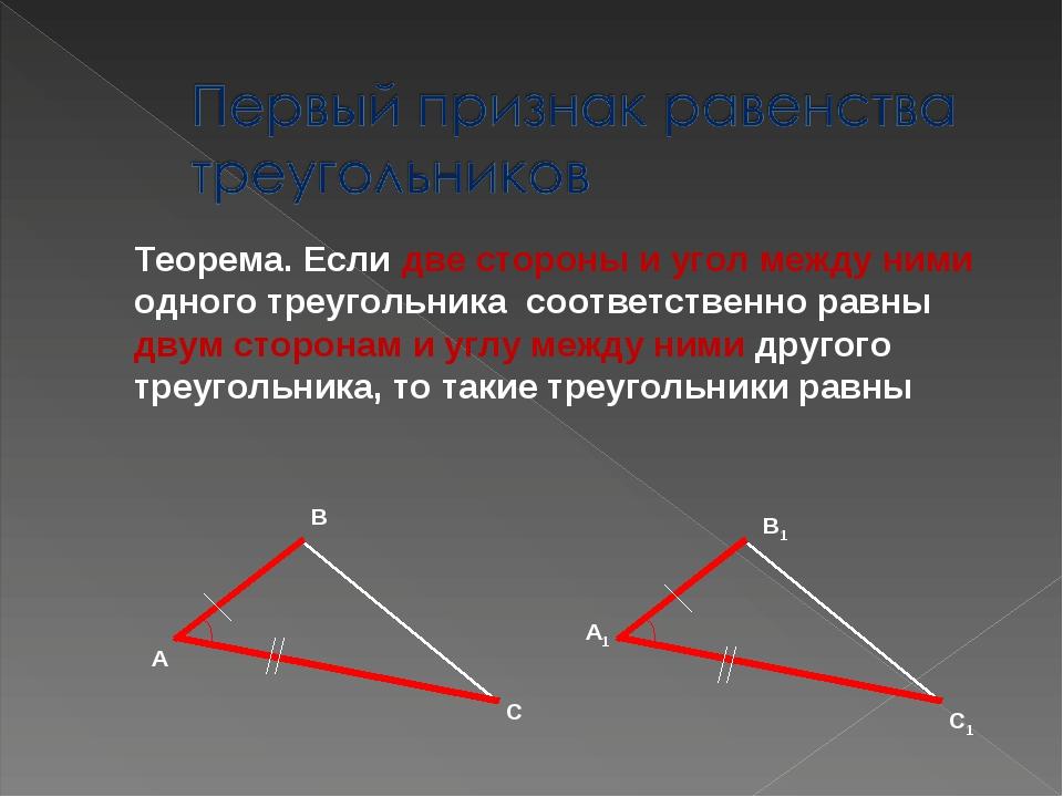 Теорема. Если две стороны и угол между ними одного треугольника соответственн...