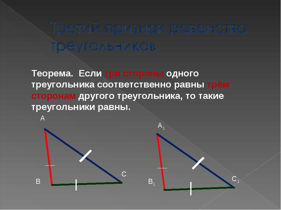 Теорема. Если три стороны одного треугольника соответственно равны трём сторо...