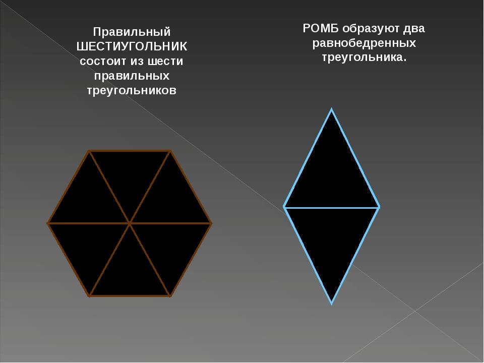 Правильный ШЕСТИУГОЛЬНИК состоит из шести правильных треугольников РОМБ образ...