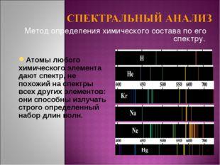 Метод определения химического состава по его спектру. Атомы любого химическог