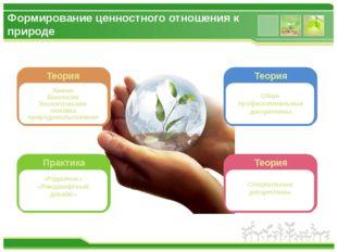 Формирование ценностного отношения к природе Экологическое мировоззрение Теор