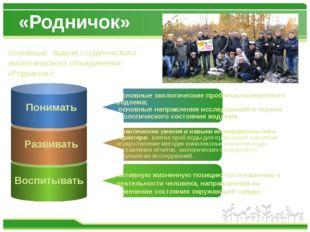 «Родничок» Основные задачи студенческого экологического объединения «Родничок