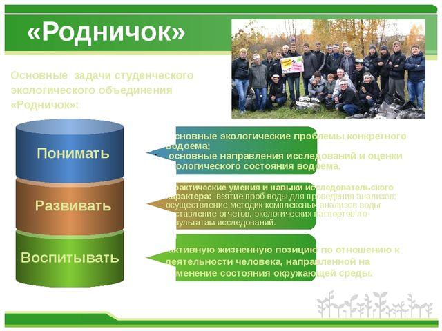 «Родничок» Основные задачи студенческого экологического объединения «Родничок...