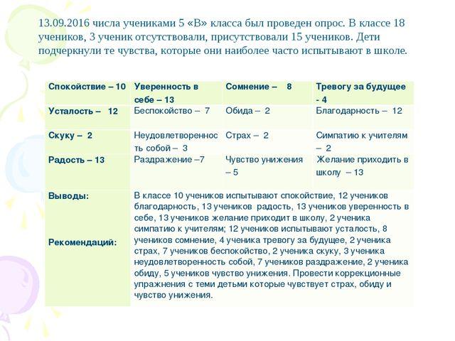 13.09.2016 числа учениками 5 «В» класса был проведен опрос. В классе 18 учени...