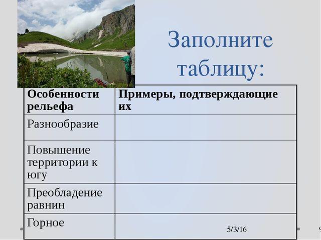 Заполните таблицу: Особенности рельефа Примеры, подтверждающие их Разнообраз...