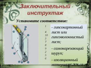 Заключительный инструктаж - гипсокартонный лист или гипсоволокнистый лист; -