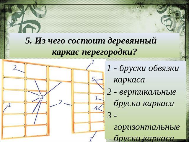 5. Из чего состоит деревянный каркас перегородки? 1 - бруски обвязки каркаса...