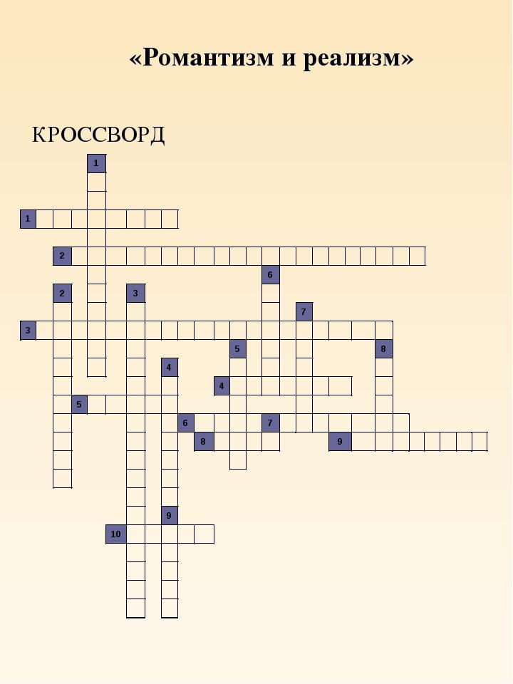 «Романтизм и реализм» КРОССВОРД
