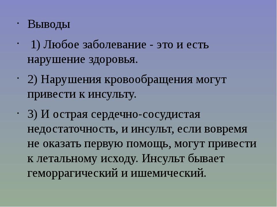 Выводы 1) Любое заболевание - это и есть нарушение здоровья. 2) Нарушения кро...