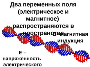 Два переменных поля (электрическое и магнитное) распространяются в пространст