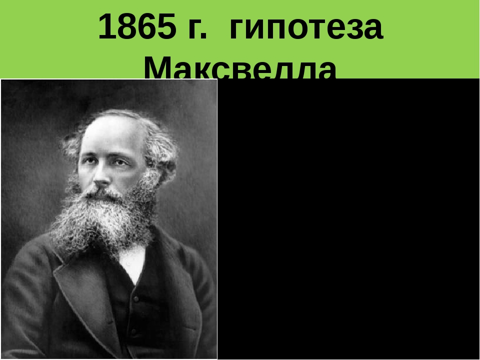 1865 г. гипотеза Максвелла Переменное электрическое поле порождает переменное...