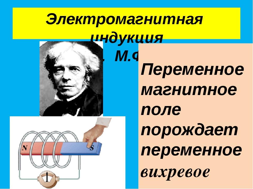 Электромагнитная индукция (1831 г. М.Фарадей) Переменное магнитное поле порож...