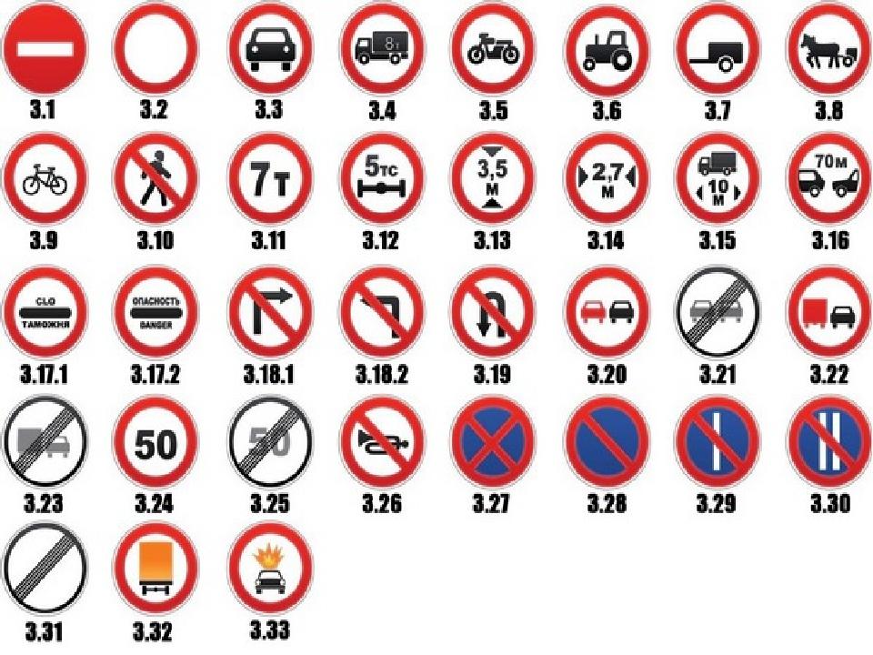 Картинки запрещенных знаков дорожного движения