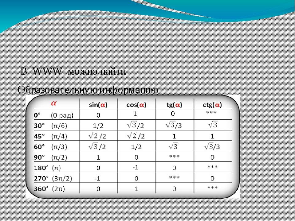 В WWW можно найти Образовательную информацию