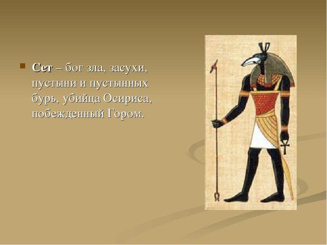 Сет – бог зла, засухи, пустыни и пустынных бурь, убийца Осириса, побежденный...