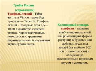 Грибы России (справочник) Трюфель летний- Tuber aestivum Vitt см. также Род