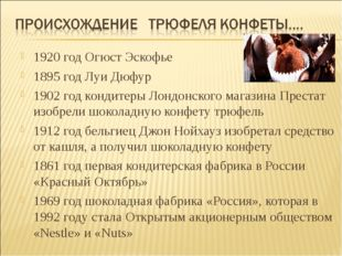 1920 год Огюст Эскофье 1895 год Луи Дюфур 1902 год кондитеры Лондонского мага