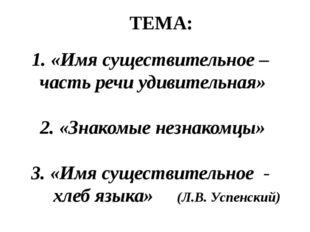 1. «Имя существительное – часть речи удивительная» 2. «Знакомые незнакомцы» 3
