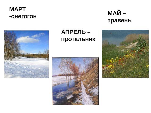 АПРЕЛЬ – протальник . МАРТ -снегогон МАЙ – травень