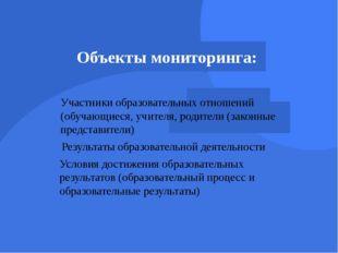 Объекты мониторинга: Участники образовательных отношений (обучающиеся, учител