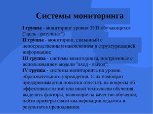 """Системы мониторинга I группа - мониторинг уровня ЗУН обучающихся (""""цель - рез"""