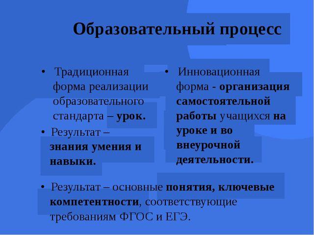 Образовательный процесс • Традиционная форма реализации образовательного с...