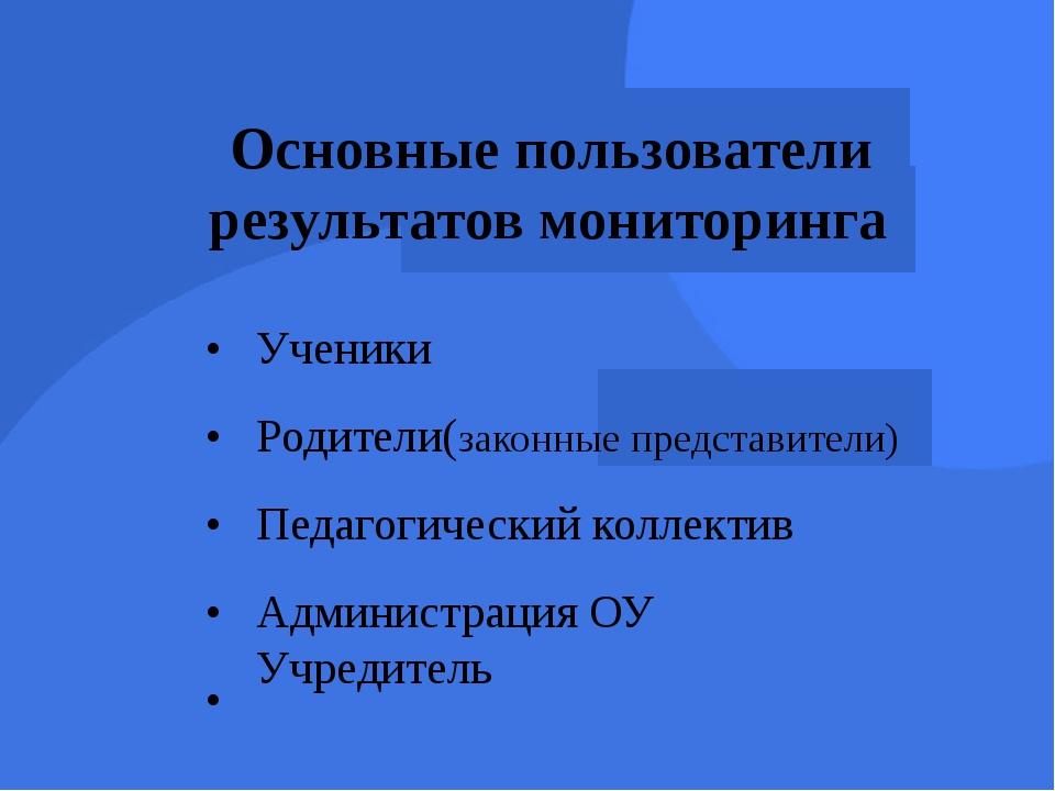 Основные пользователи результатов мониторинга • • • • • Ученики Родители(зак...