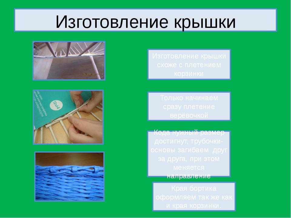 Изготовление крышки Изготовление крышки схоже с плетением корзинки Только нач...