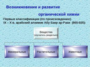 Возникновение и развитие органической химии Первые классификации (по происхож