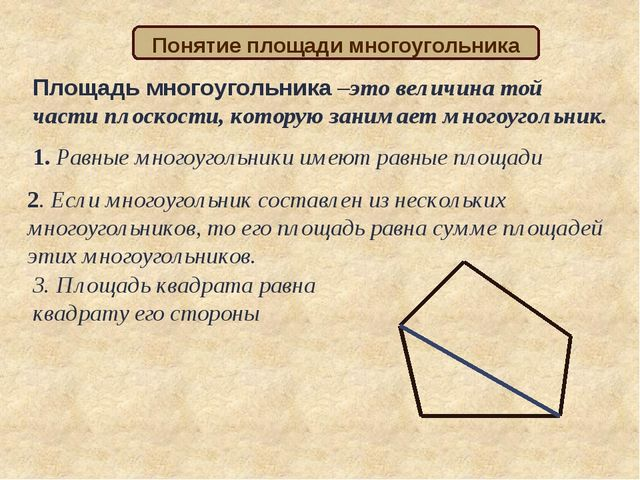 Площадь многоугольника –это величина той части плоскости, которую занимает мн...