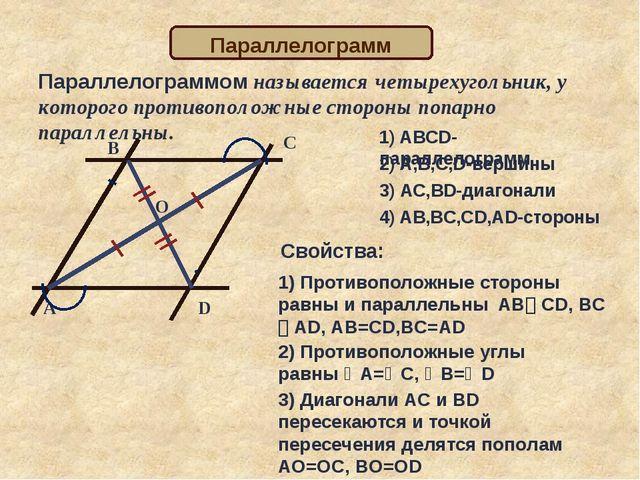 Параллелограммом называется четырехугольник, у которого противоположные сторо...