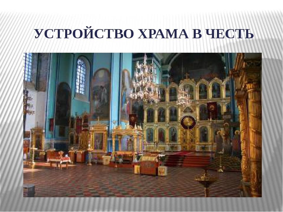 УСТРОЙСТВО ХРАМА В ЧЕСТЬ ВОСКРЕСЕНИЯ ХРИСТОВА
