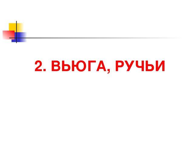 2. ВЬЮГА, РУЧЬИ