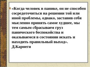 «Когда человек в панике, он не способен сосредоточиться на решении той или ин