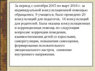 За период с сентября 2015 по март 2016 г. за индивидуальной консультационной