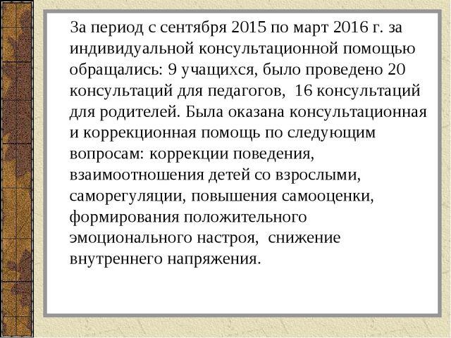 За период с сентября 2015 по март 2016 г. за индивидуальной консультационной...