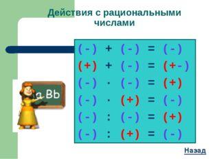 Действия с рациональными числами (-) + (-) = (-) (+) + (-) = (+-) (-) ∙ (-) =