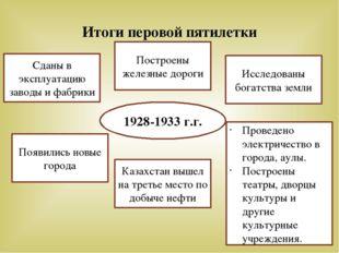 Итоги перовой пятилетки 1928-1933 г.г. Сданы в эксплуатацию заводы и фабрики