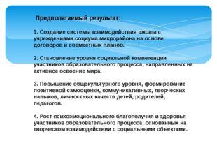 Предполагаемый результат: 1. Создание системы взаимодействия школы с учрежд