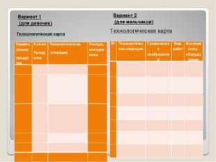 Вариант 1 (для девочек) Вариант 2 (для мальчиков) Технологическая карта Техно