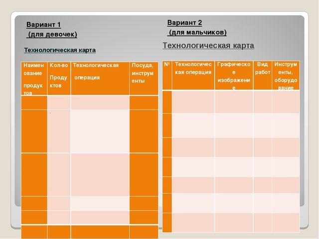 Вариант 1 (для девочек) Вариант 2 (для мальчиков) Технологическая карта Техно...